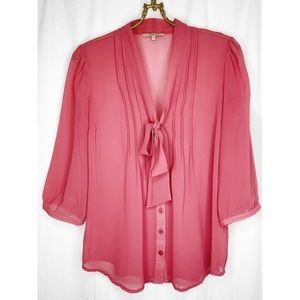RW & Co pink sheer tie neck blouse